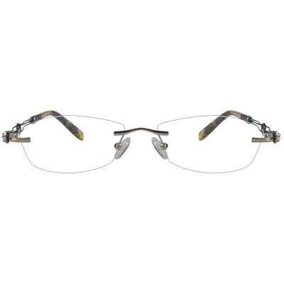 G4U O-617 Rectangle Eyeglasses 123979 (Silver-Green)
